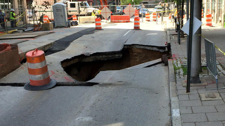 Road collapse in Baltimore