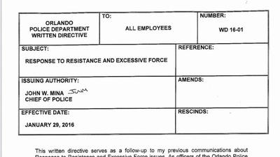 Document: Orlando Police written directive on excessive force