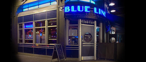 It's in the name --Blue Line Bar and Lounge is under the Damen Blue Line stop.