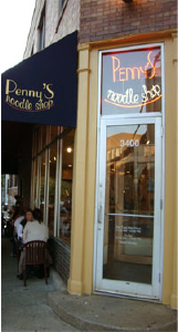 Penny's Noodle Shopin Wrigleyvilleis near the Brown Line tracks.