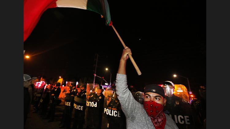 Trump rally in Costa Mesa  Intolerant Social Justice Zombies Riot in California: Welcome to Aztlan