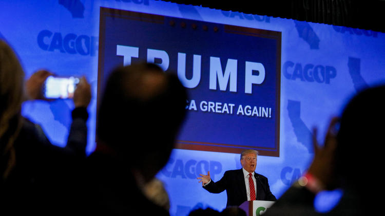 Donald Trump at the California Republican Convention in April. (Jay L. Clendenin / Los Angeles Times)