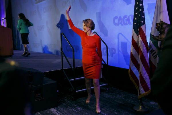 Sen. Ted Cruz's running mate Carly Fiorina waves goodbye to the crowd after making a keynote speech at the California Republican Convention in Burlingame on April 30. (Marcus Yam / Los Angeles Times)