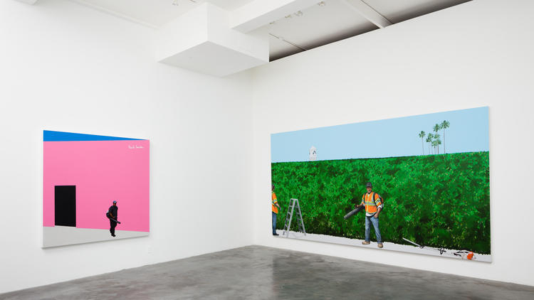 """An installation view of Ramiro Gomez's exhibition """"On Melrose"""" at Charlie J"""