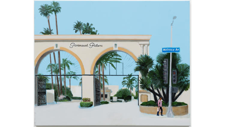 """A detail from """"Melrose Avenue, Eastbound,"""" showing Paramount Studios."""