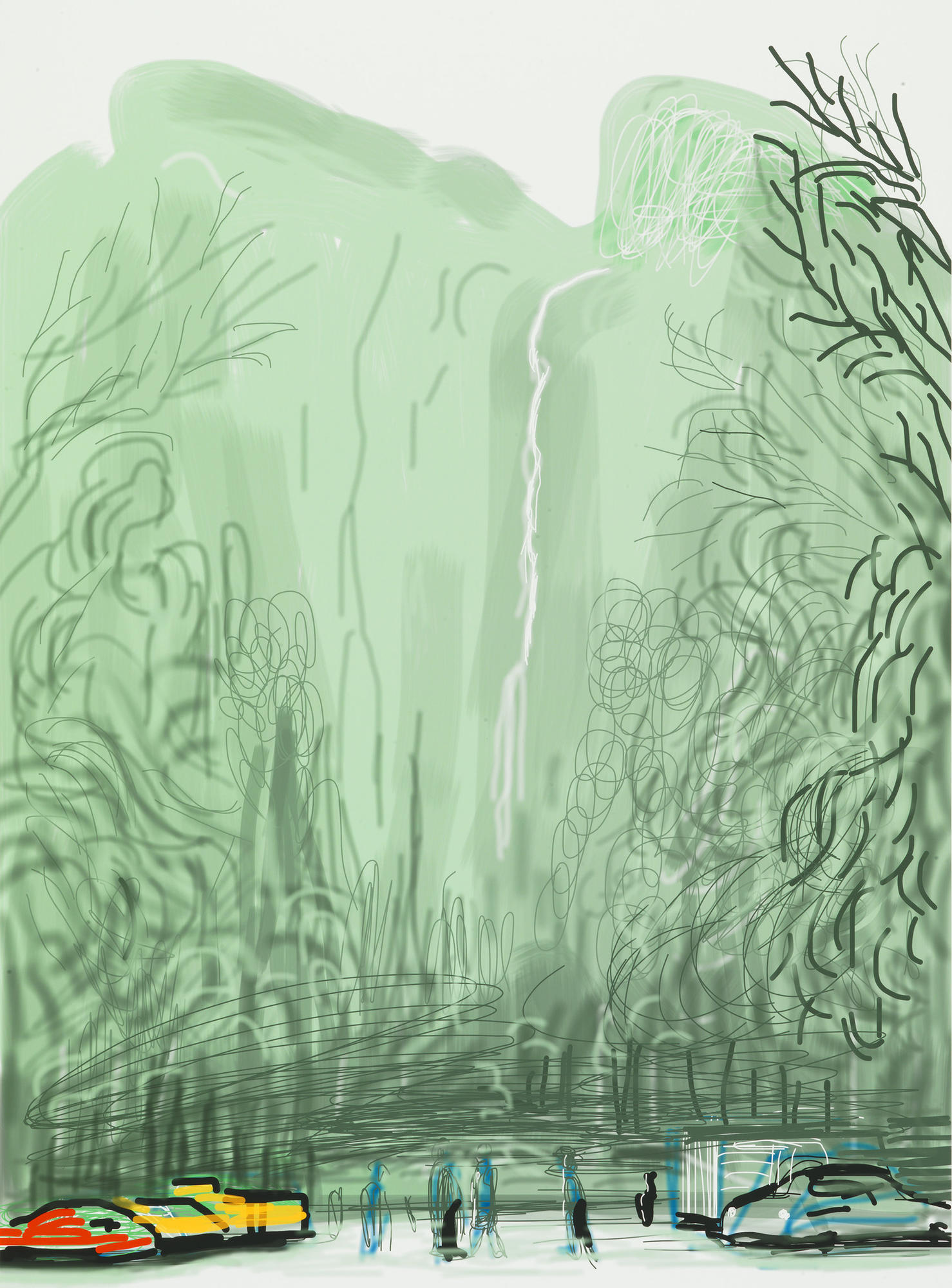 "David Hockney ""Untitled No. 13"" from ""The Yosemite Suite"" 2010 iPad drawing printed on paper."