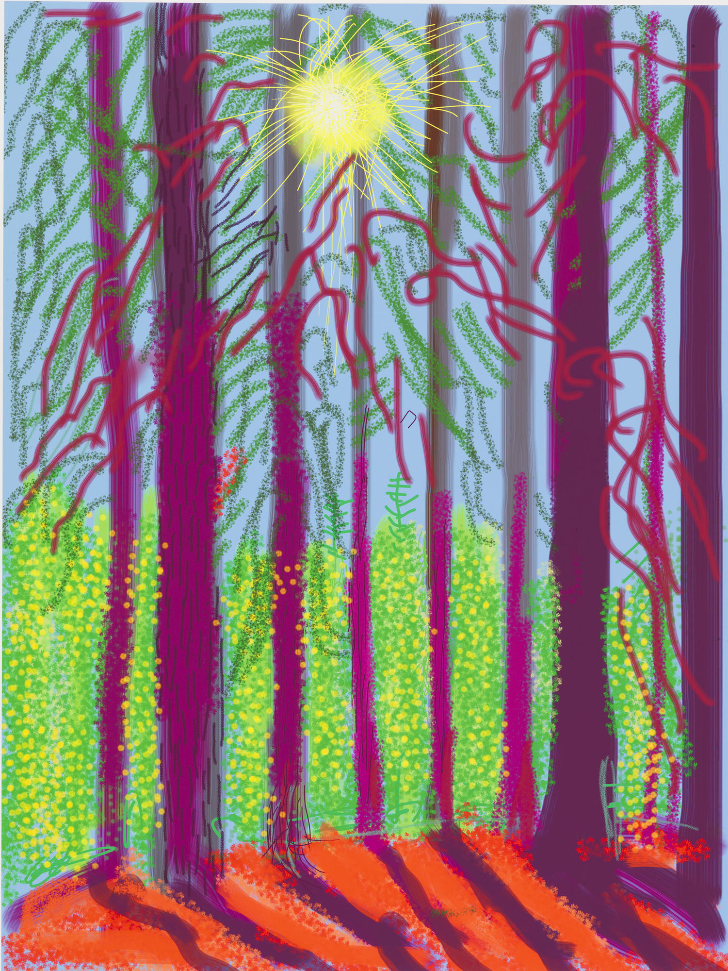 "David Hockney's ""Untitled No. 4"" from ""The Yosemite Suite,"" 2010, iPad drawing printed on paper."