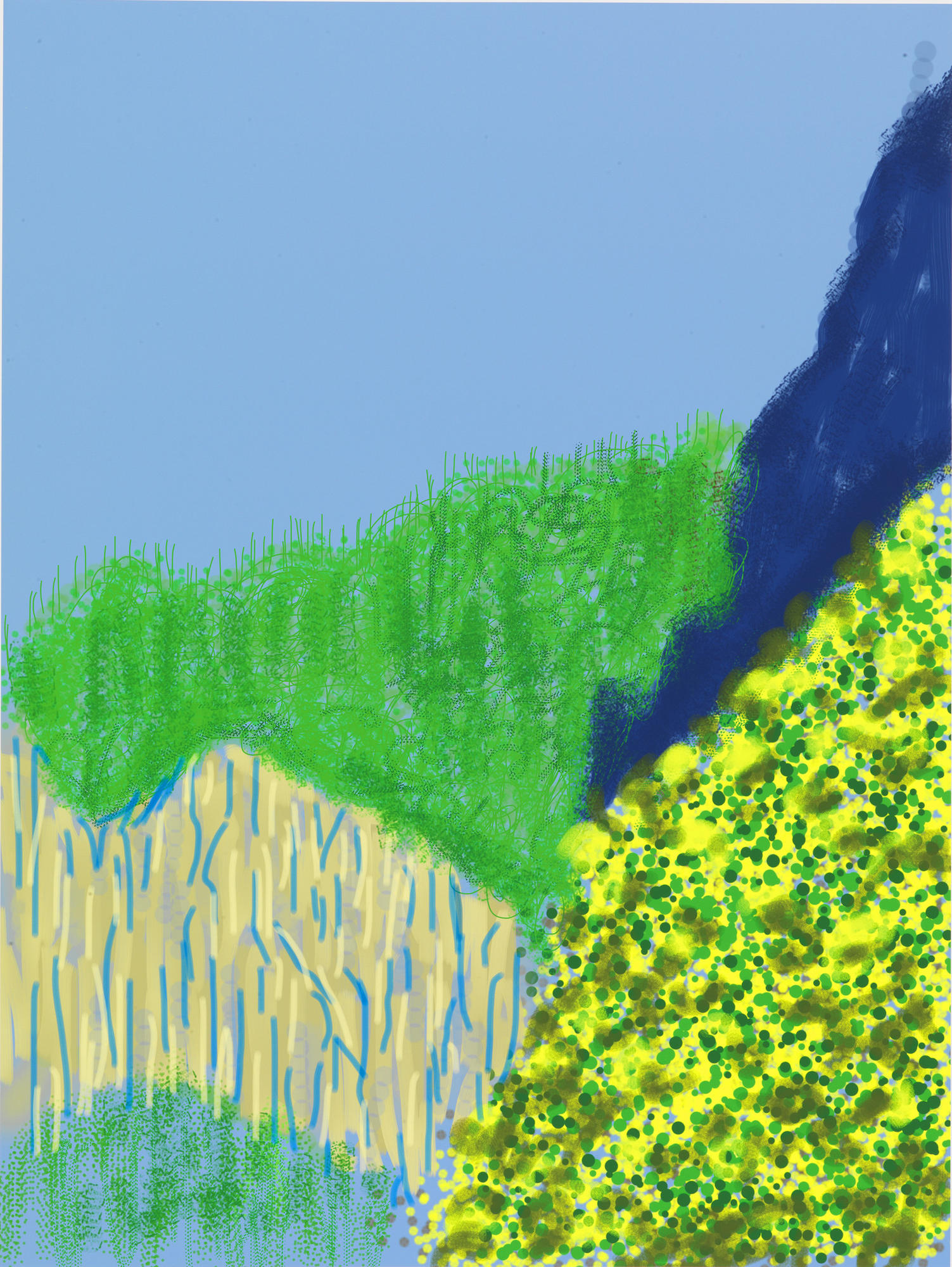 "David Hockney's ""Untitled No. 3"" from ""The Yosemite Suite,"" 2010, iPad drawing printed on paper."