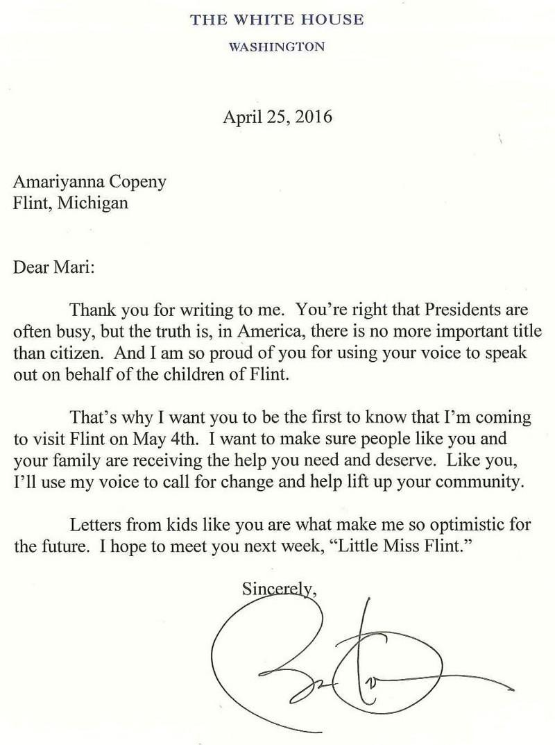 Read The Letter From Little Miss Flint That Stirred Obama To Visit