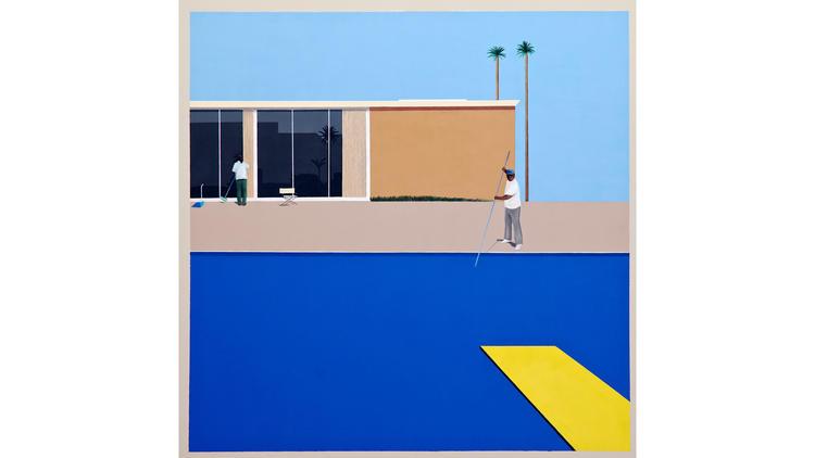 """""""No Splash (after David Hockney's 'A Bigger Splash,' 1967),"""" painted in 201"""