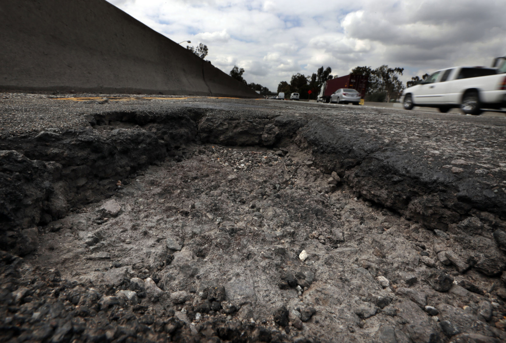 A closeup of one of the potholes on Broadway onramp to the southbound I-5. (Los Angeles Times)