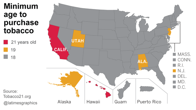 Californias Smoking Age Raised From To Under Bills Signed - Smoking rates us map