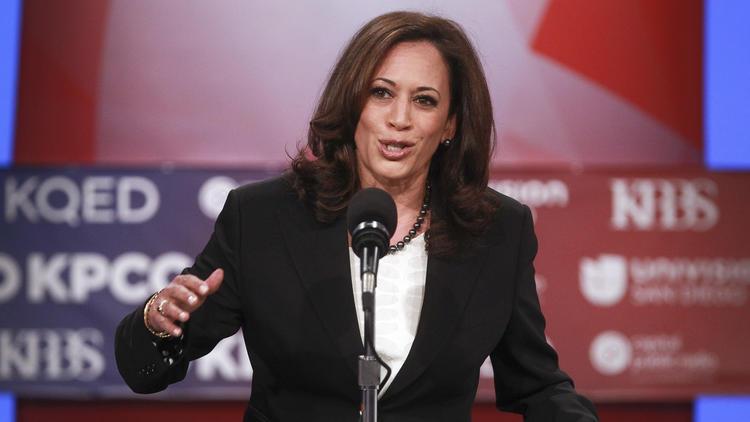 Kamala Harris, California attorney general, makes her opening statement during the Senate debate in San Diego on May 10. (Hayne Palmour IV / San Diego Union-Tribune)