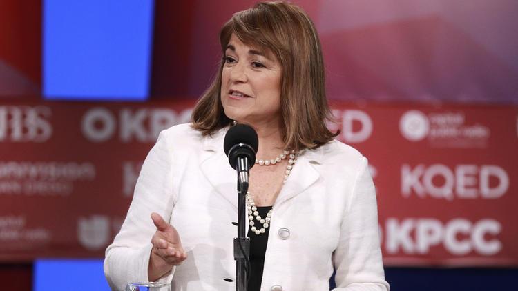 Rep. Loretta Sanchez makes her opening statement during a Senate primary debate. (Hayne Palmour IV / San Diego Union-Tribune)