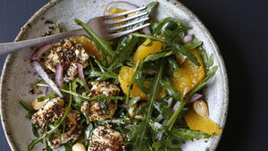 Wild arugula and orange salad with baked feta, honey and za'atar