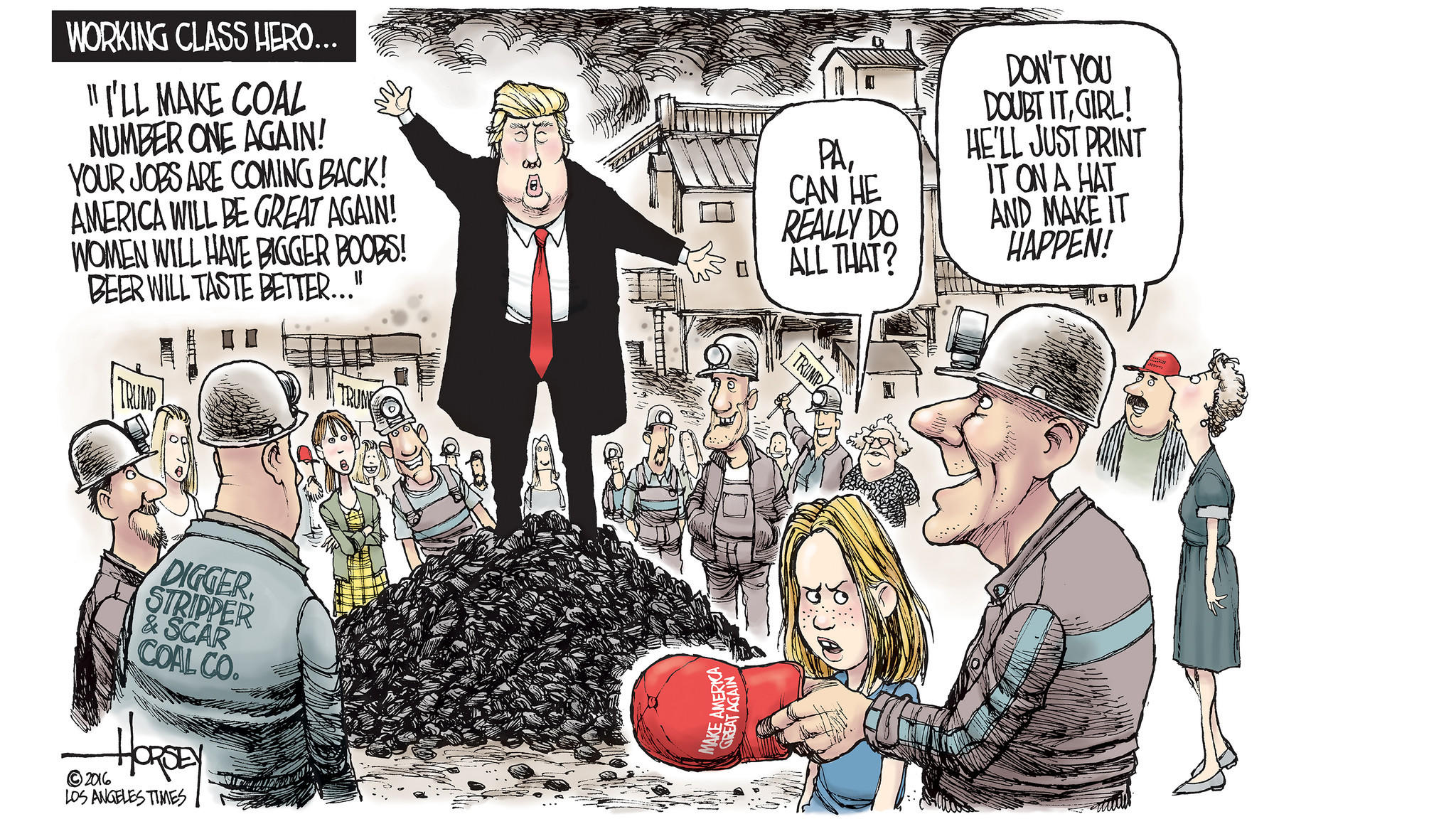 Image result for cartoons president trump coal miners