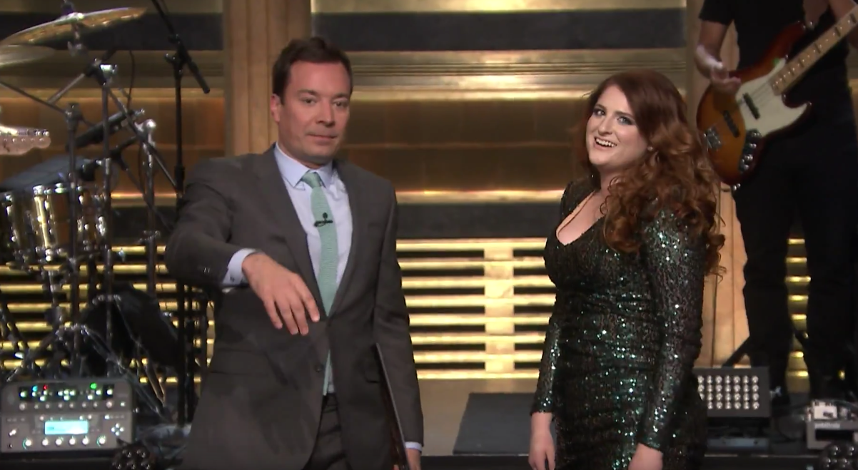 Meghan Trainor loses her balance — or does she? — on 'The Tonight Show' - LA Times