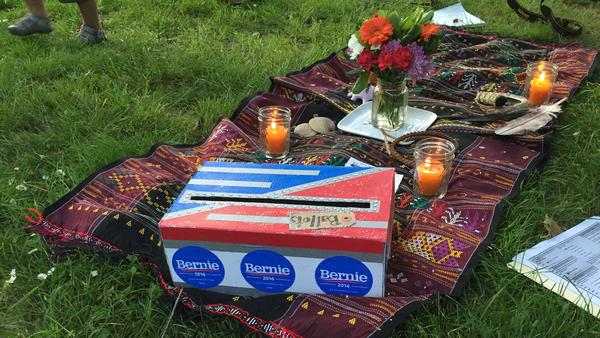 "The ""ballot box"" at the Wiccan ritual held in Portland in support of Bernie Sanders."