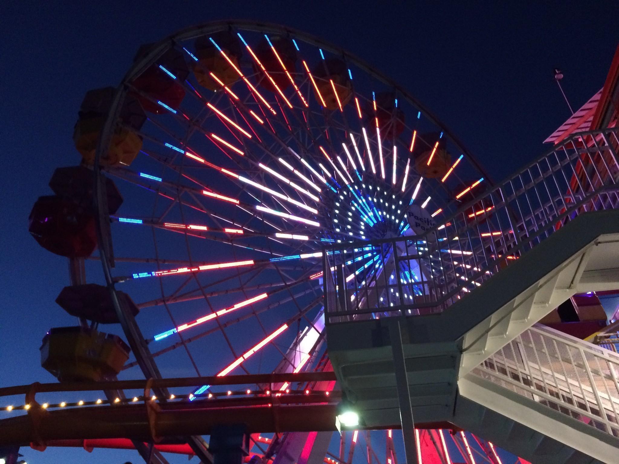 The Ferris wheel at the Santa Monica Pier. (Carolina A. Miranda / Los Angeles Times)