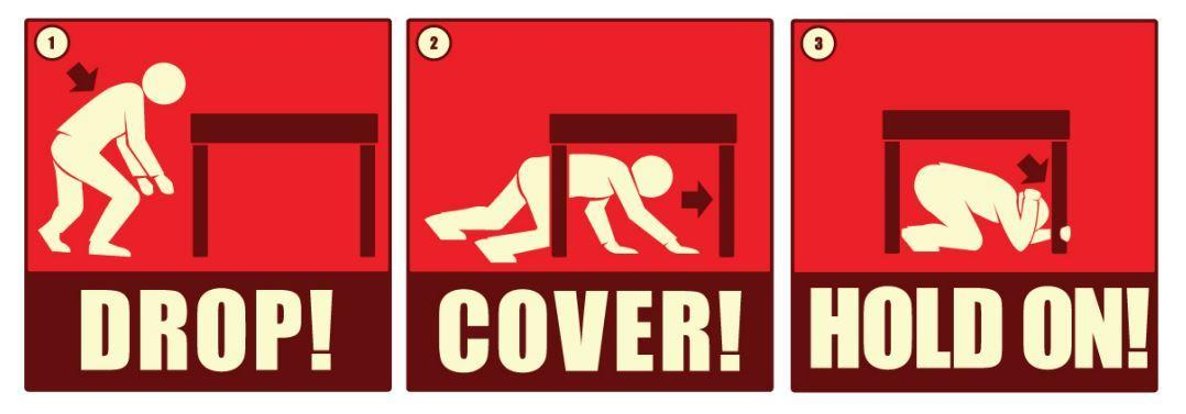 drop cover and hold on when an earthquake hits