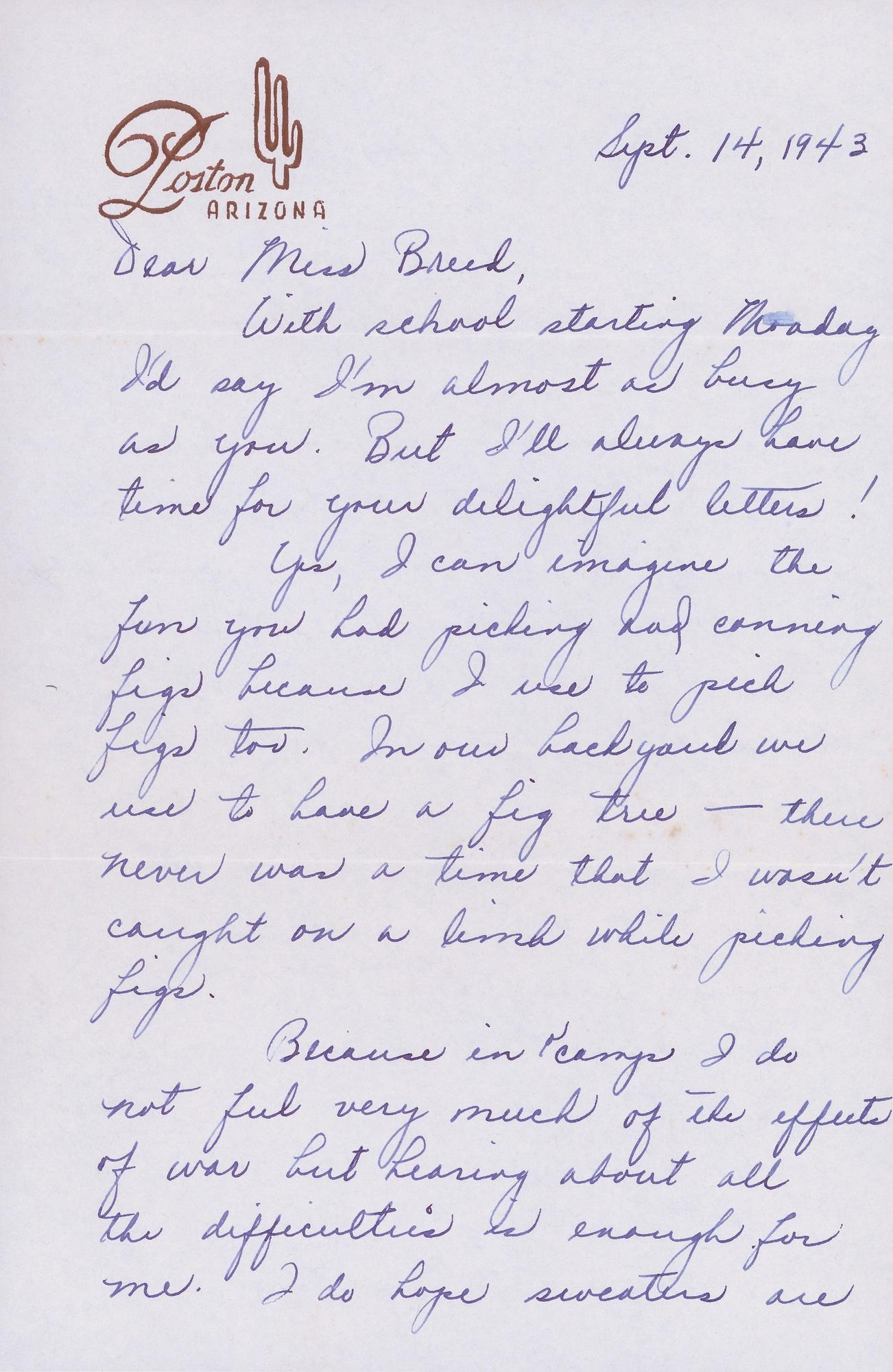 A 1943 letter from Louise Ogawa.