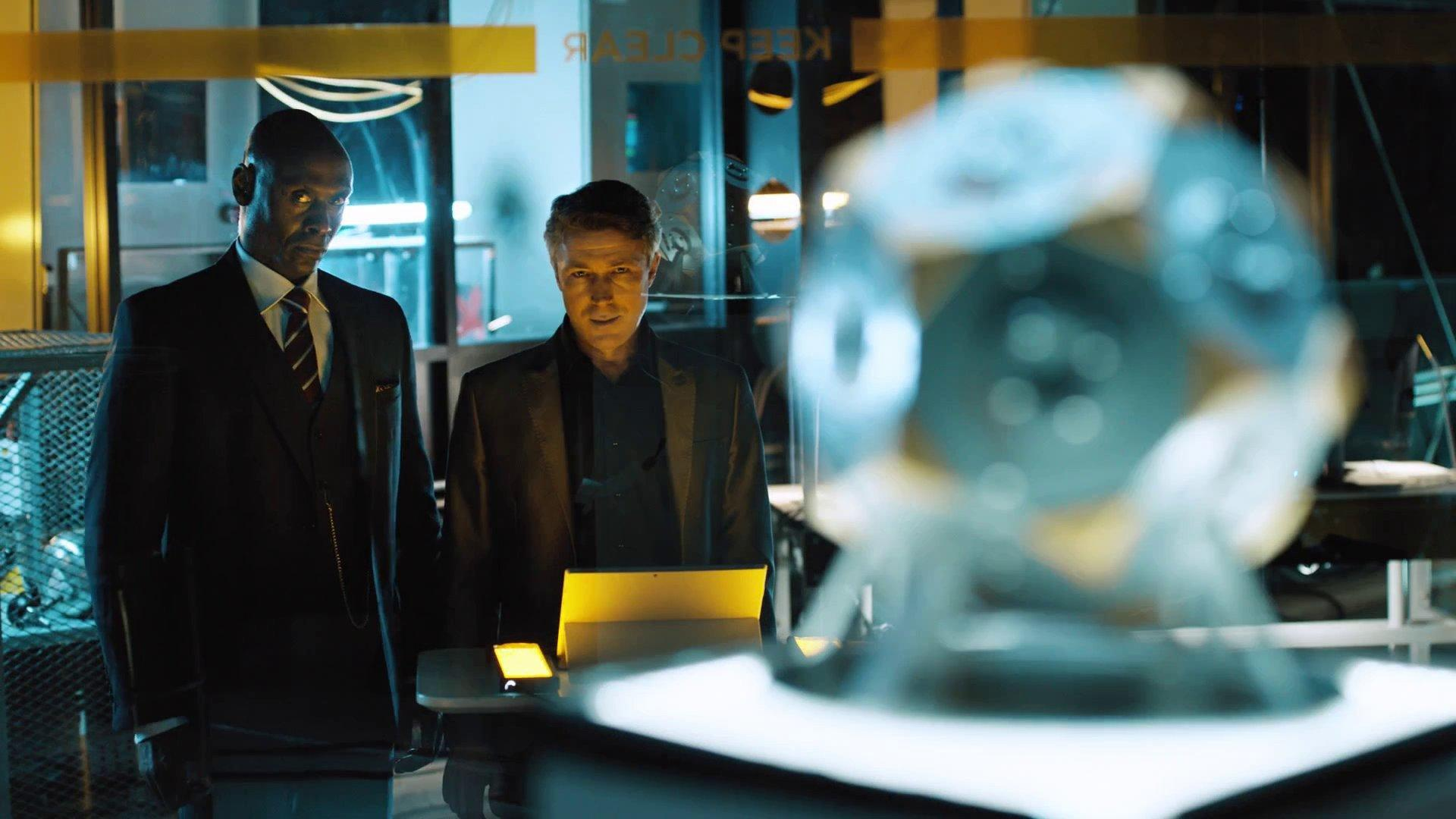 "Lance Reddick, left, and Aidan Gillen star in ""Quantum Break,"" which blurs TV viewing and video gameplay. (Microsoft Studios)"
