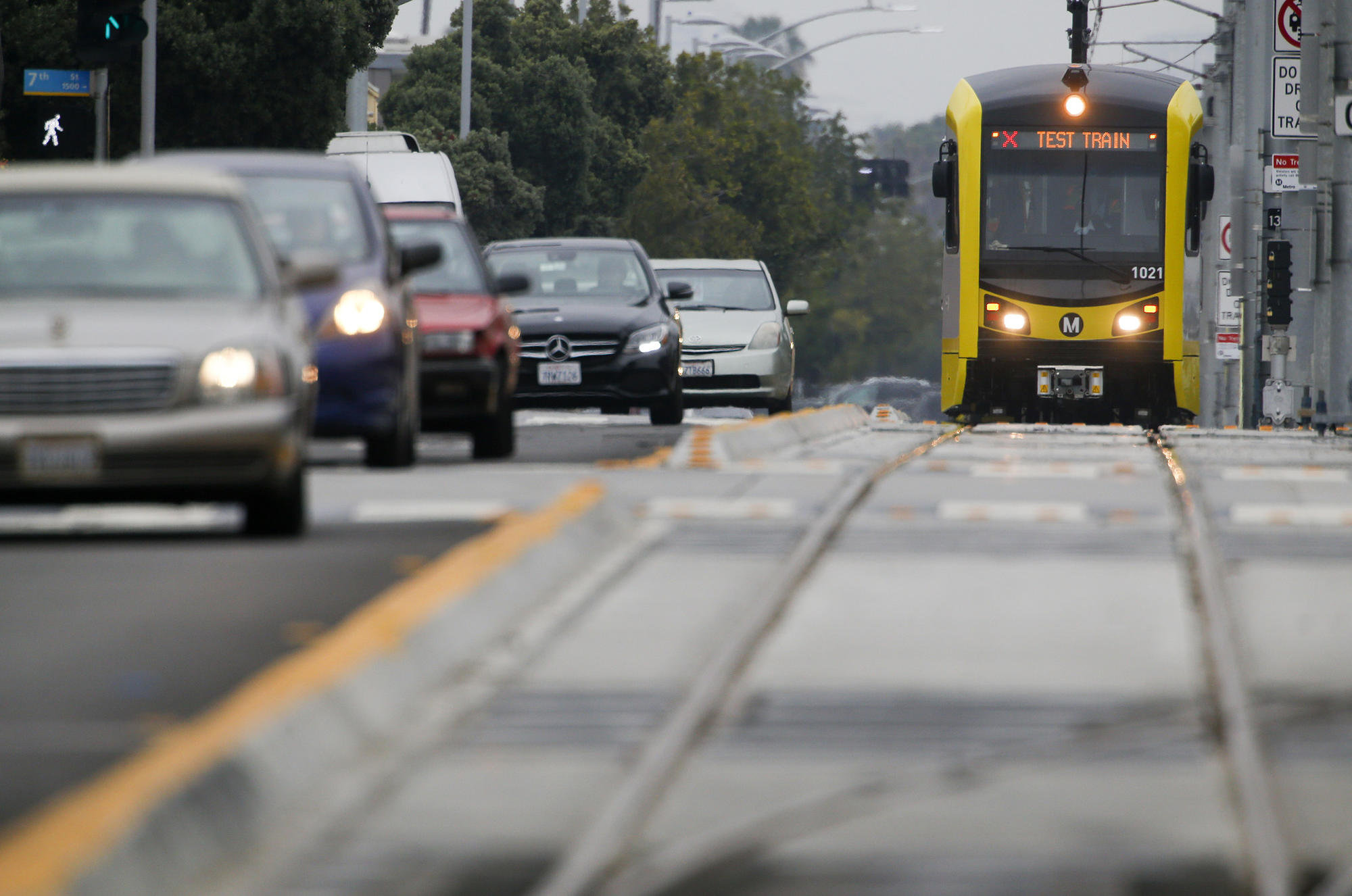 An Expo Line test train nears the Santa Monica station. The trip from downtown takes 50 minutes.
