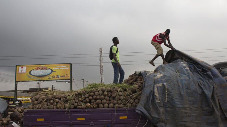 Workers cover yams and cassavas on a truck after off-loading their products at a market in Accra, Ghana, on Oct. 16, 2013.