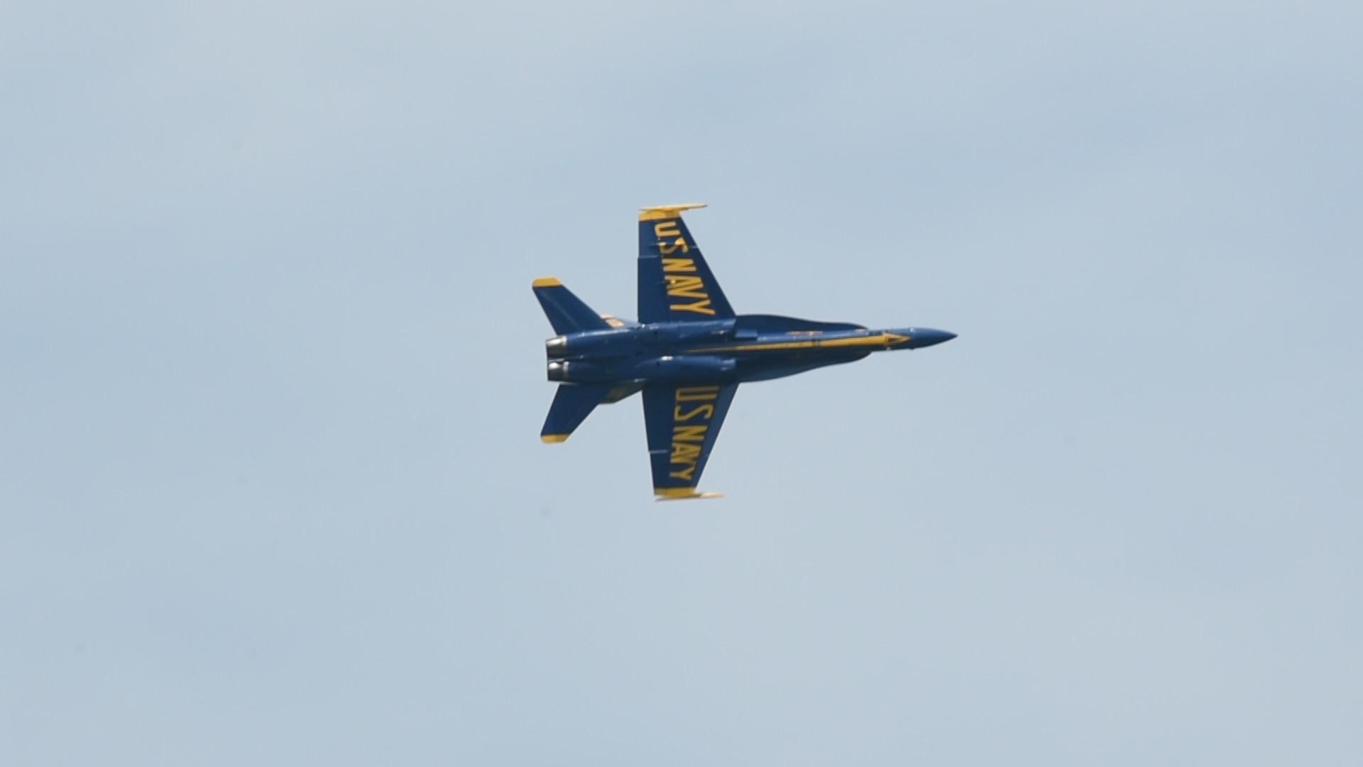 blue angels perform flight demonstration for commissioning