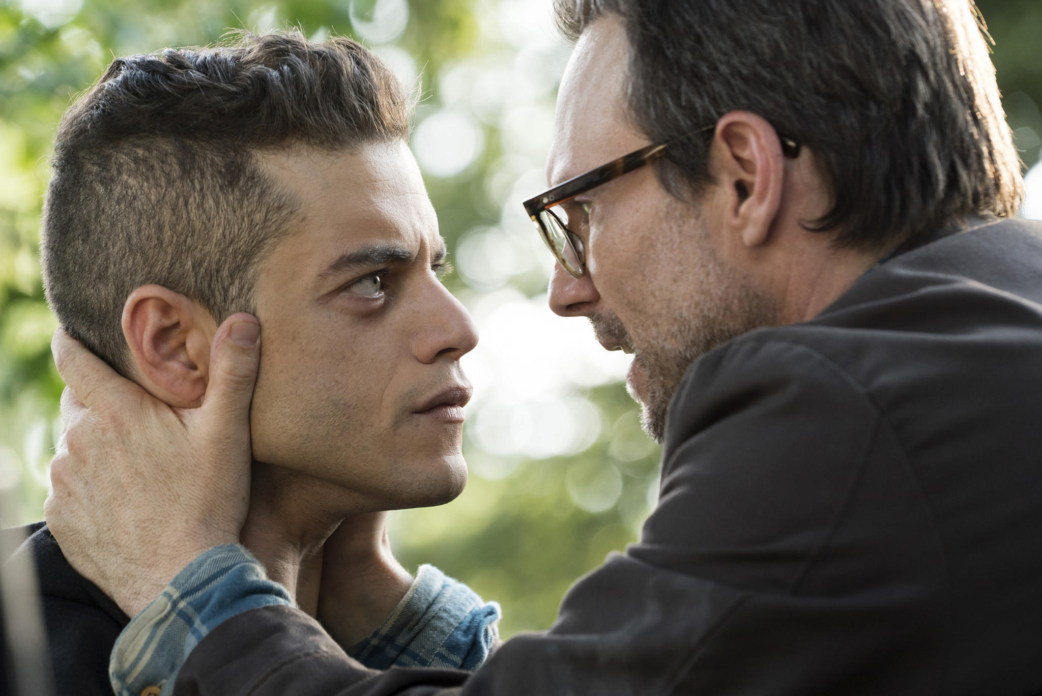 "Rami Malek, left, and Christian Slater in ""Mr. Robot."""