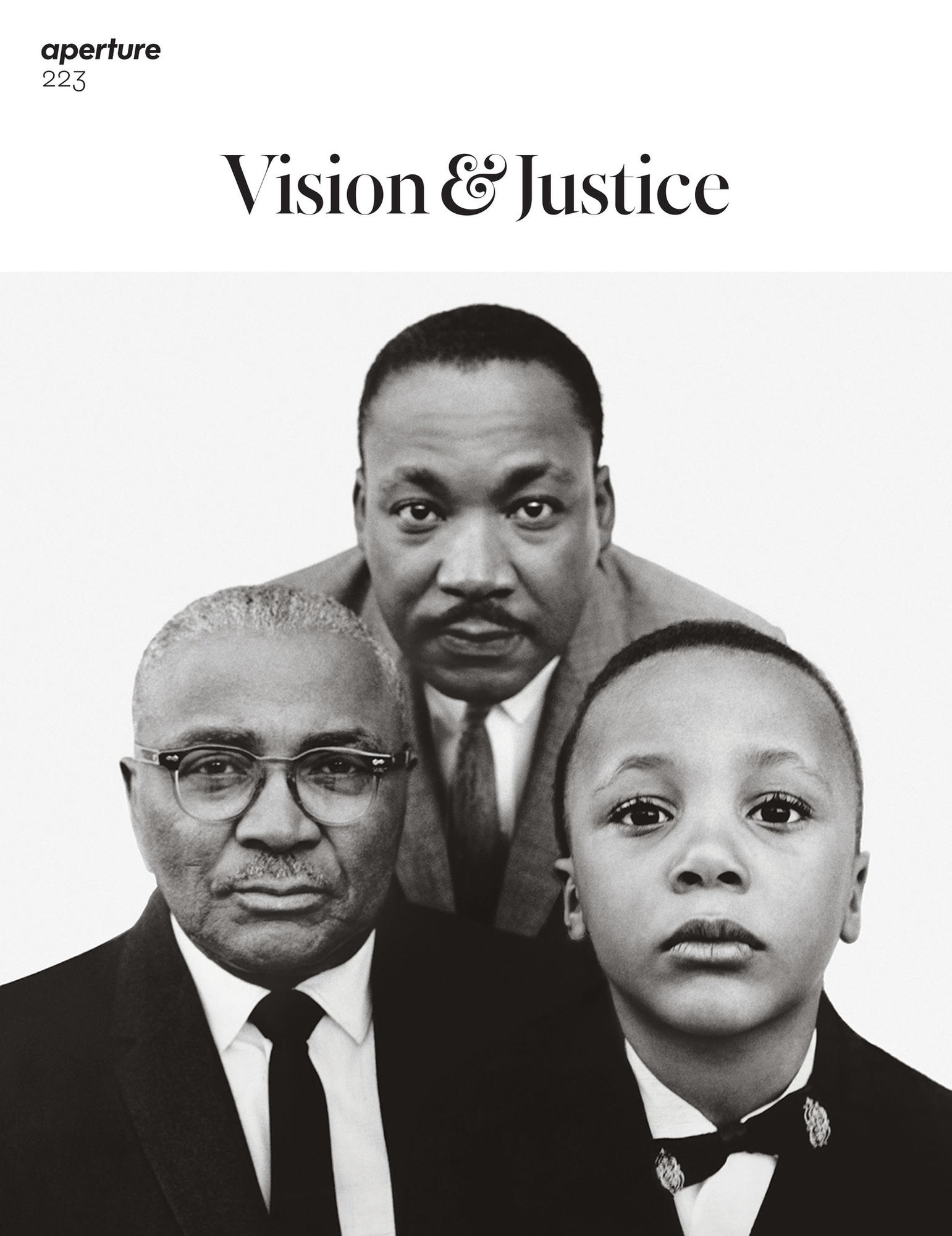 "One of two covers of Aperture Magazine\'s Summer 2016, ""Vision & Justice"" issue with a photo by Richard Avedon. The Rev. Martin Luther King Jr. with his father, the Rev. Martin Luther King, and his son, Martin Luther King III, Atlanta, 1963."
