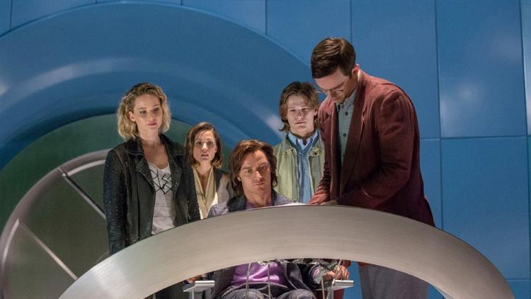 "Jennifer Lawrence, left, Rose Byrne, James McAvoy, Lucas Till and Nicholas Hoult appear in a scene from, ""X-Men: Apocalypse."""