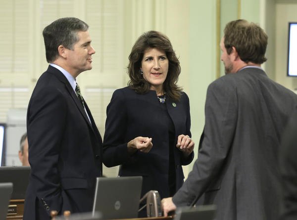 Assemblyman David Hadley (R-Manhattan Beach), left, and Assemblywoman Catherine Baker (R-San Ramon), center, are two of the most vulnerable Republican incumbents in 2016.