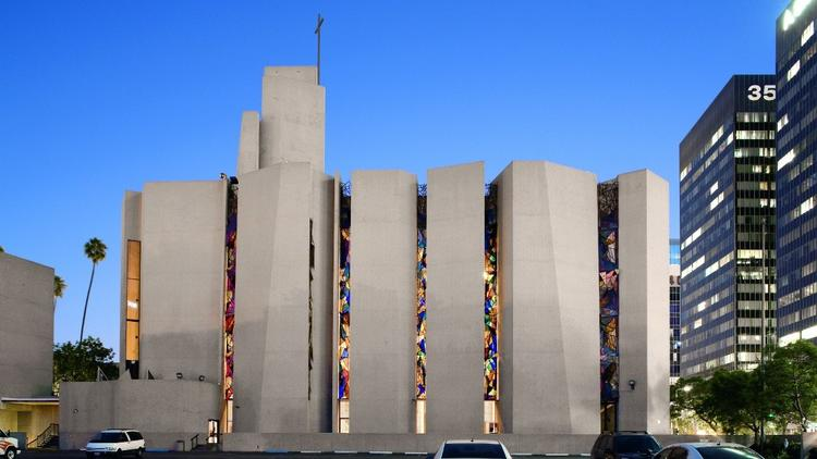 St. Basil Catholic Church (1968-69) features Claire Falkenstein's abstract, three-dimesional stained-glass windows.