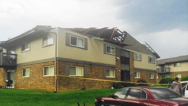 Apartment Building Roof officials: roof blown off dupage apartment building during severe