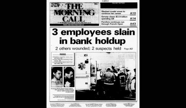 Front page reporting First National Bank of Bath massacre