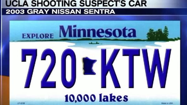 UCLA gunman Mainak Sarkar's 2003 gray Nissan Sentra with the Minnesota license plate number 720KTW is missing. (KTLA)