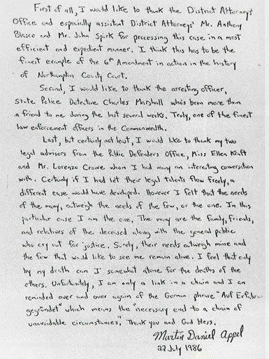 Martin Appel letter