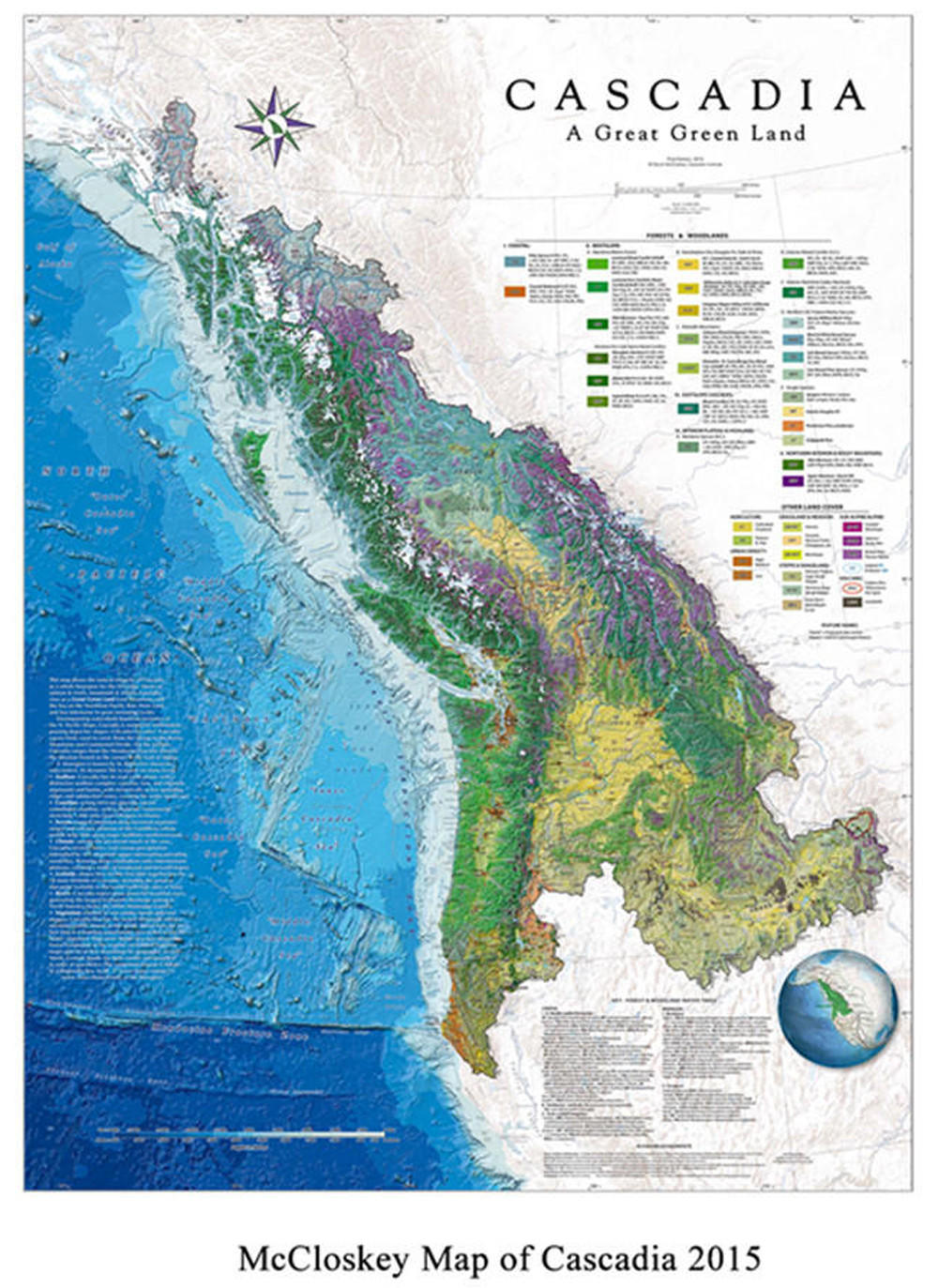 "Map of Cascadia by David McCloskey titled ""Cascadia A Great Green Land"""