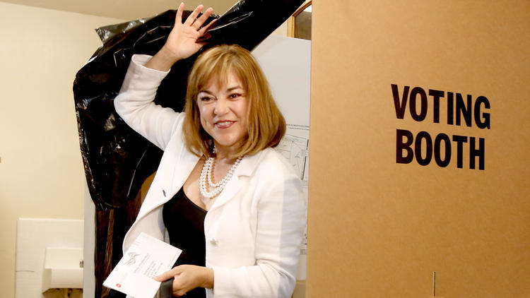 U.S. Senate candidate Loretta Sanchez casts her ballot at Orange High School in the June primary election. (Mark Boster / Los Angeles Times)