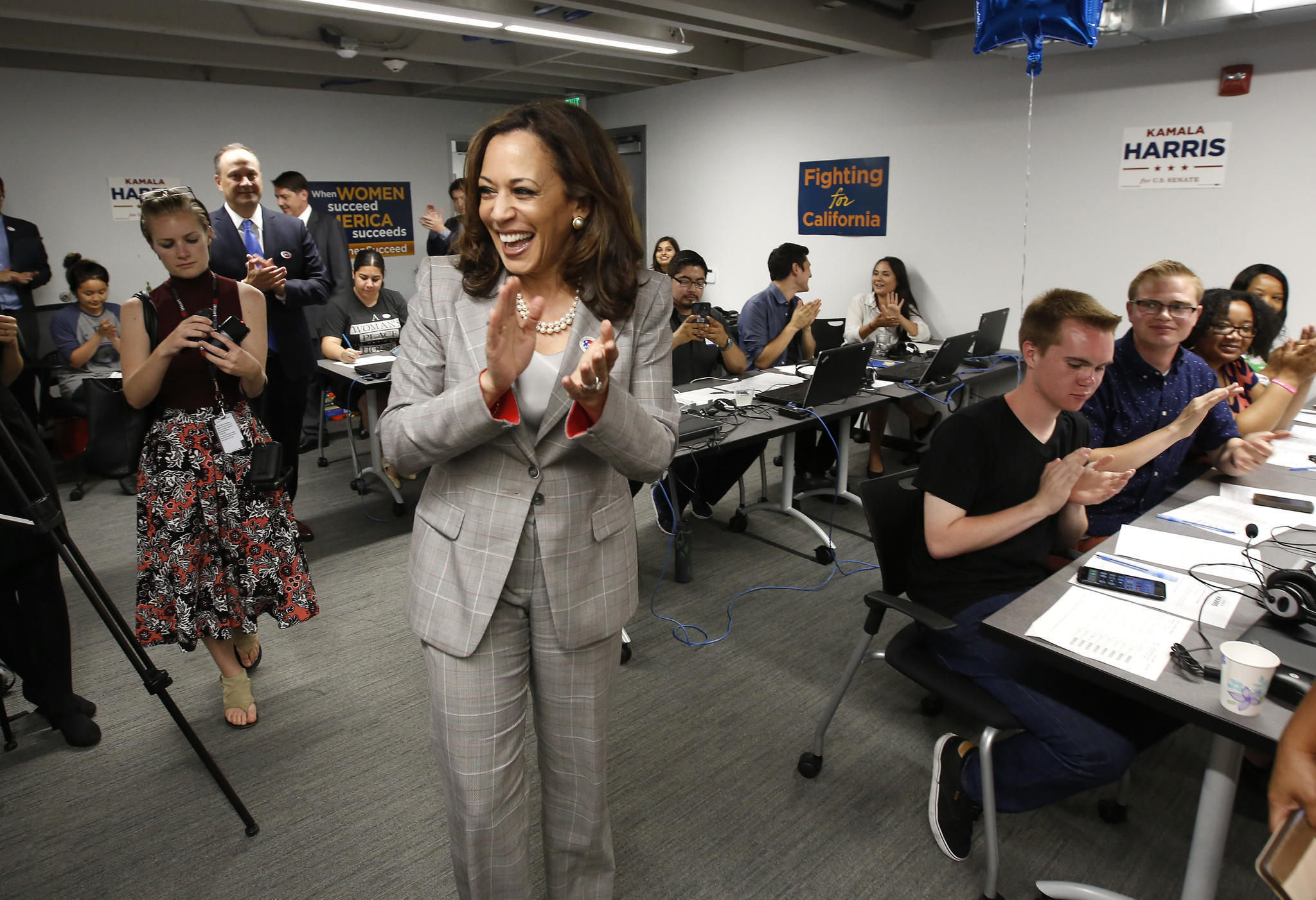 Atty. Gen. Kamala Harris greets supporters in Sacramento on Tuesday, June 7. (Rich Pedroncelli/Associated Press)