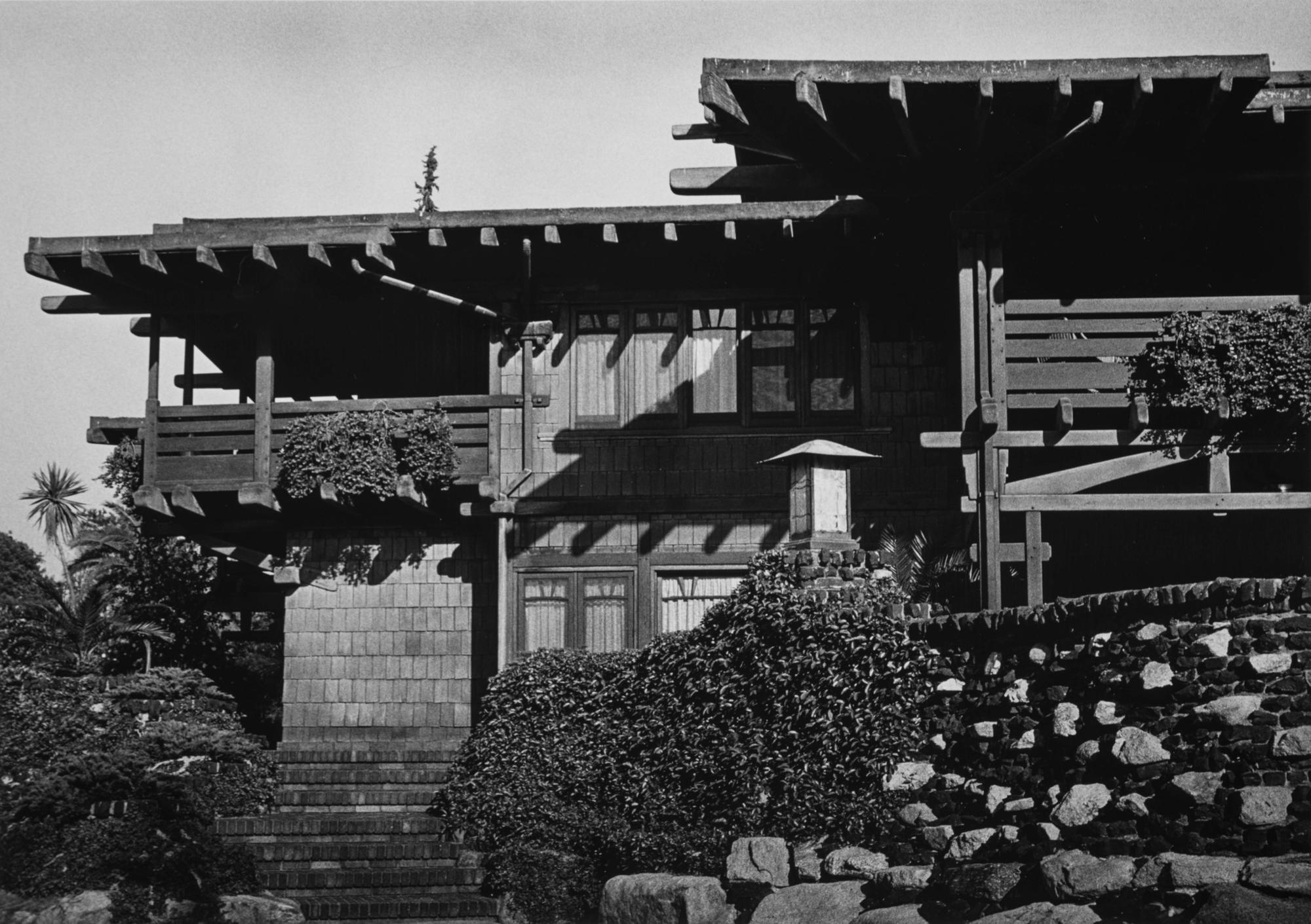 The Gamble House in Pasadena, west elevation, photographed by Yasuhiro Ishimoto, 1974, gelatin silver print.
