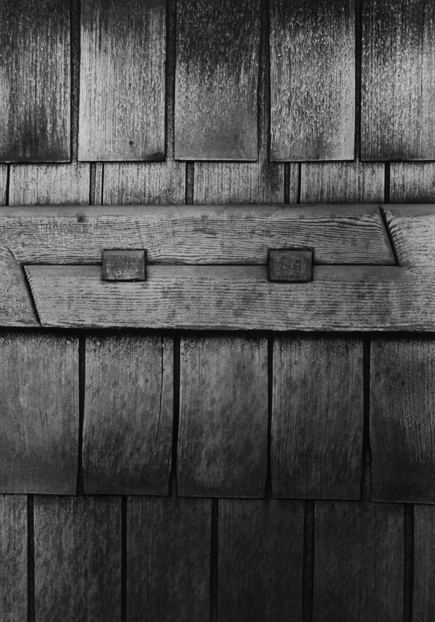 Gamble House detail of exterior scarf joint, photographed by Yasuhiro Ishimoto, 1974, gelatin silver print.