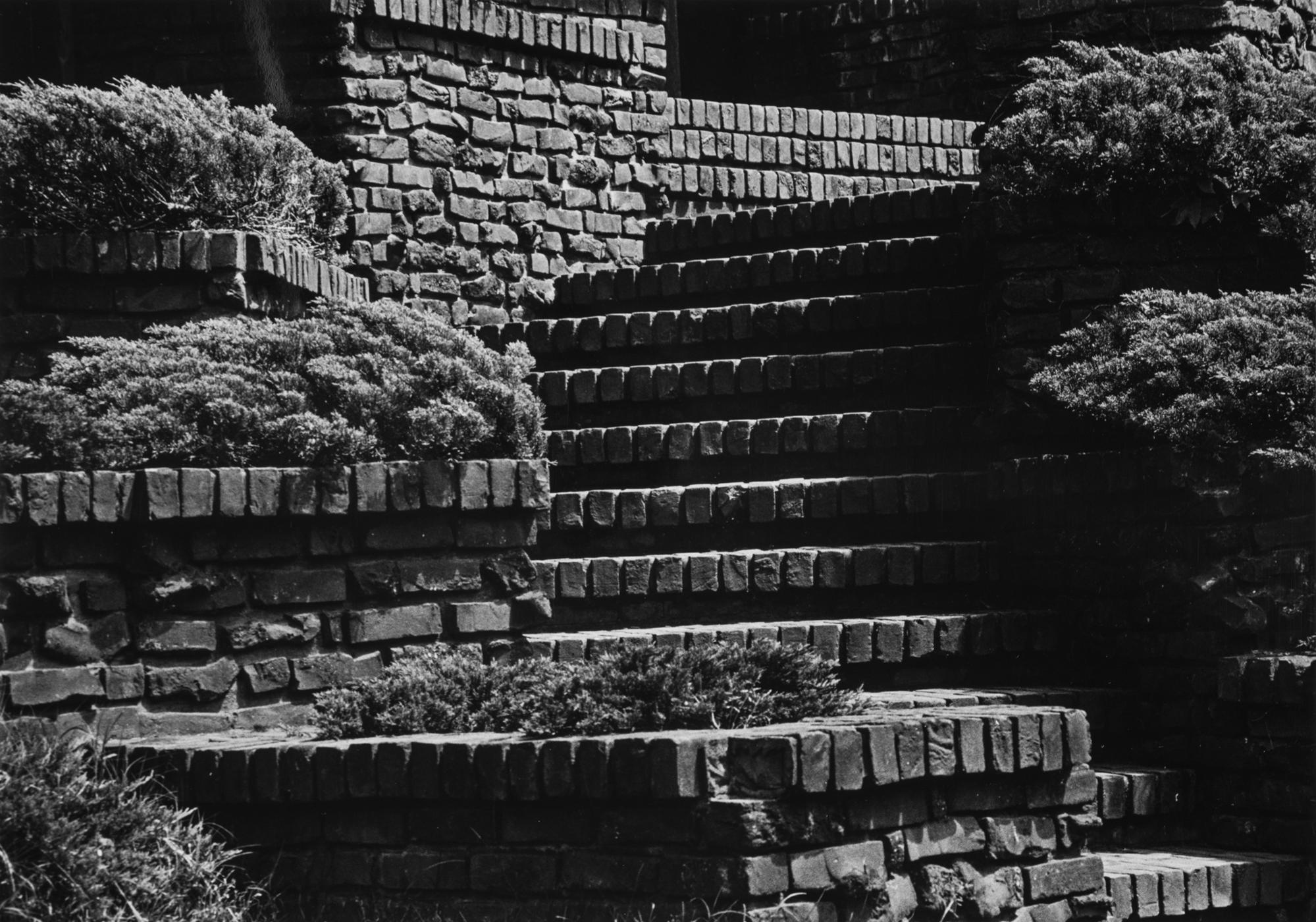 Stairs at the William R. Thorsen House in Berkeley, photographed by Yasuhiro Ishimoto, 1974, gelatin silver print.
