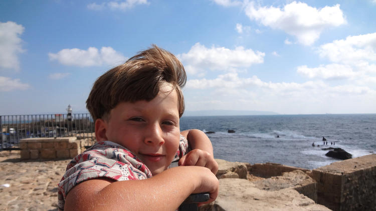 Salam Tamimi, one of activist Bassem Tamimi's sons, at the sea in 2013. .