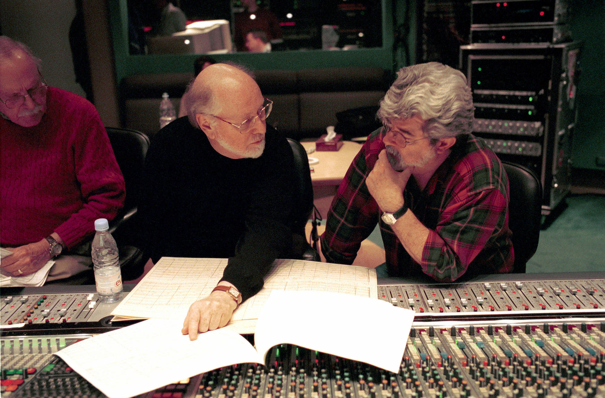 """John Williams, left, working with George Lucas on the music for """"Star Wars: Attack of the Clones"""" at London's Abbey Road studios on Jan. 20, 2002, ."""