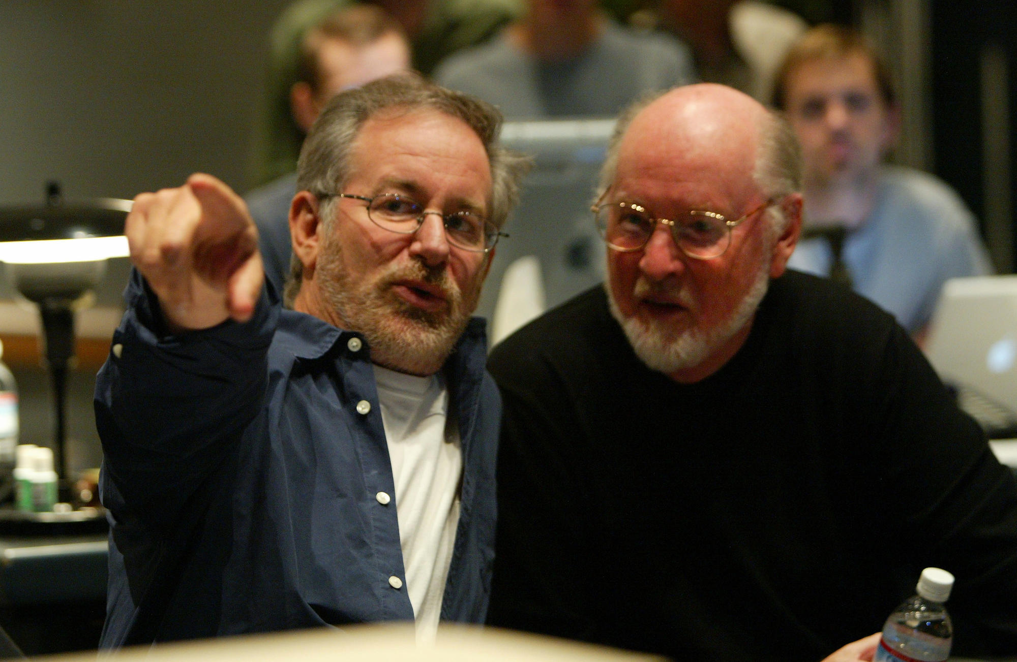 """Director Steven Spielberg, left,and John Williams during a scoring session for """"Catch Me If You Can"""" on Oct. 2, 2002."""