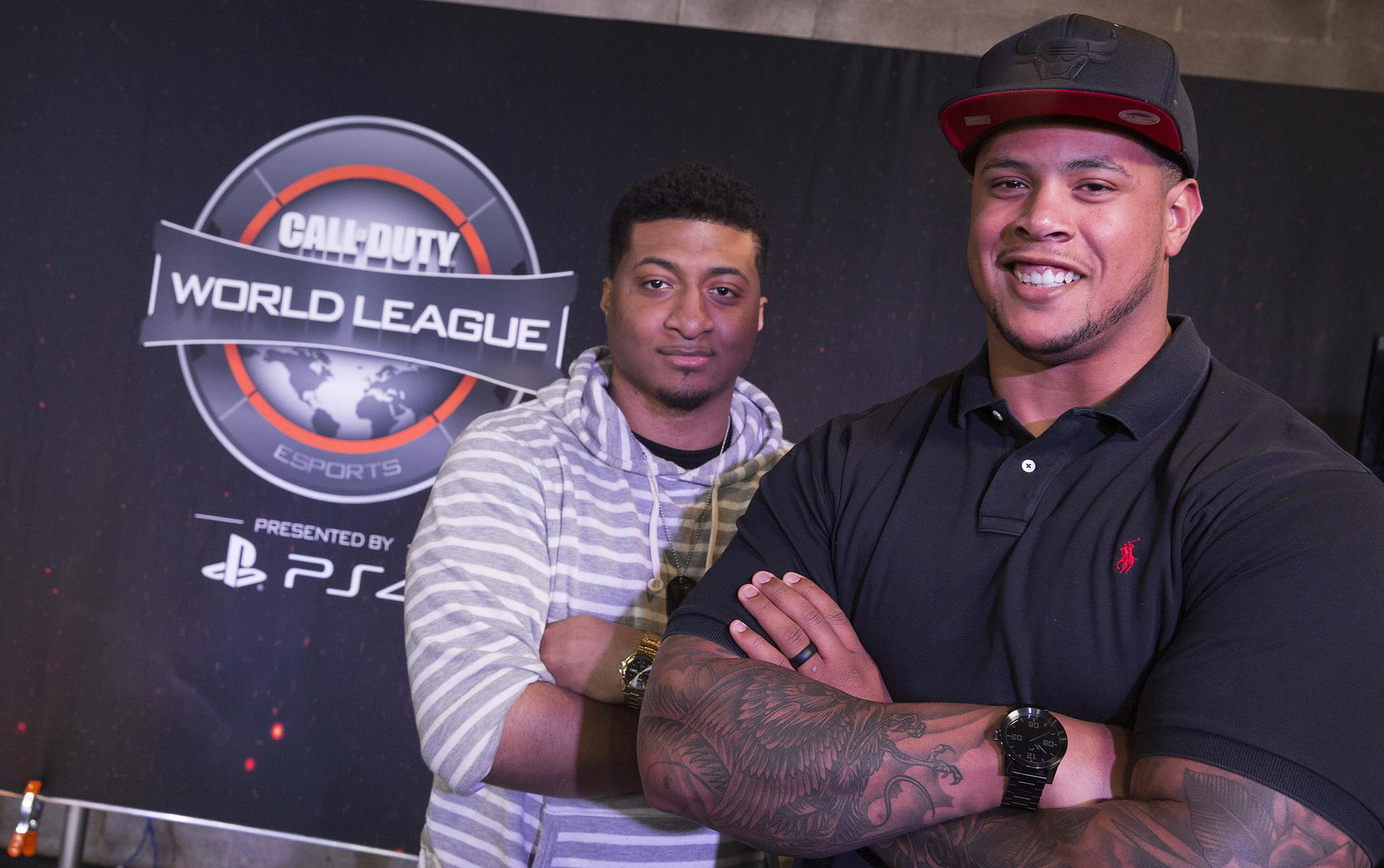 "From left, Kahreem Horsley and Rodger Saffold are co-owners of the Rise Nation ""Call of Duty"" World League eSports team."