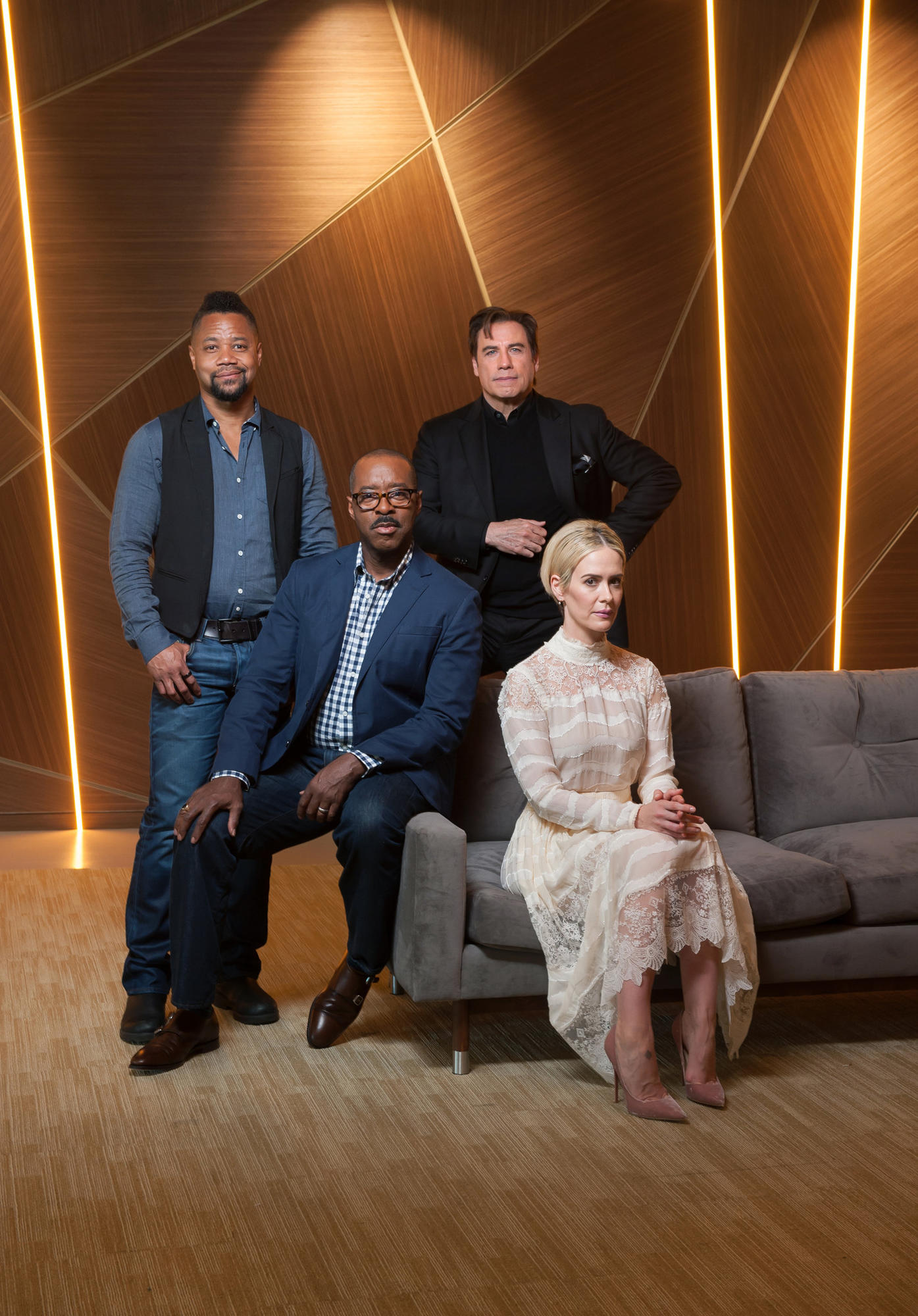 """""""The People v. O.J. Simpson"""" cast members Cuba Gooding Jr., Courtney B. Vance, John Travolta and Sarah Paulson, gathered for a chat with The Envelope."""