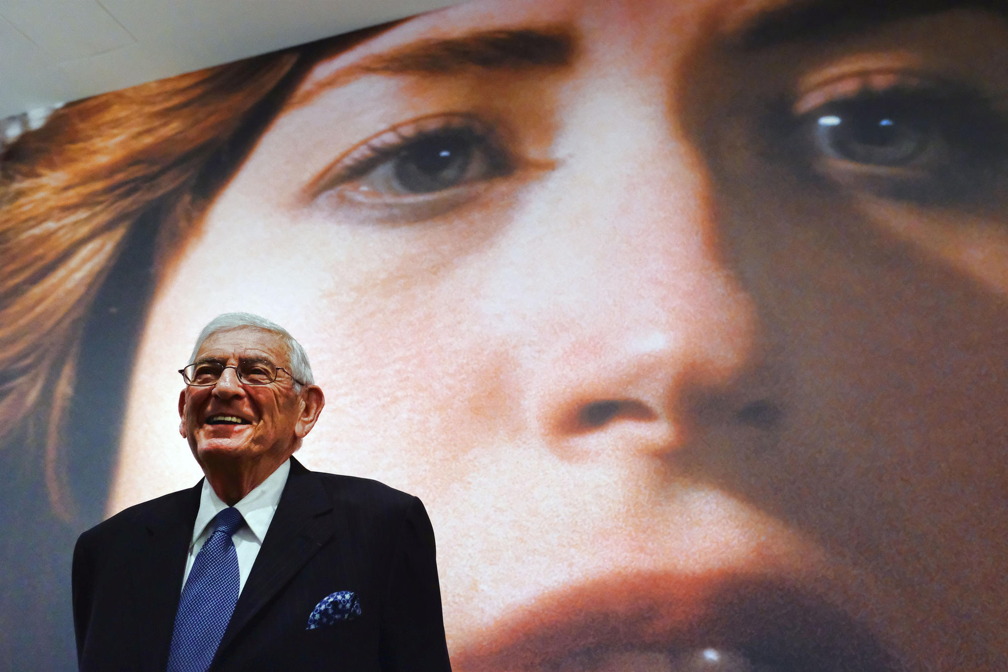 Eli Broad speaks during a press preview of the Cindy Sherman exhibition at the Broad Museum on Wednesday.